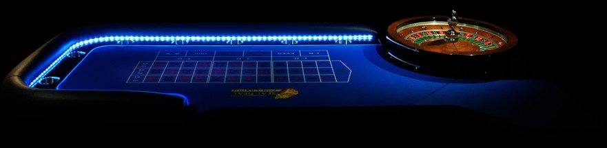 LED lit casino tables for hire