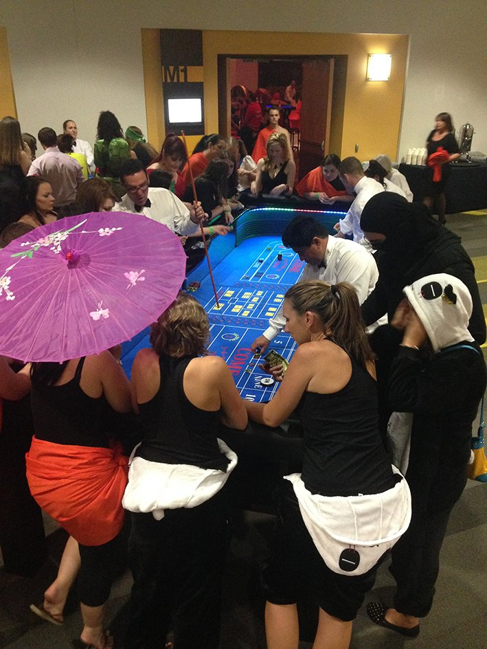 Craps has16 players & 3 dealers