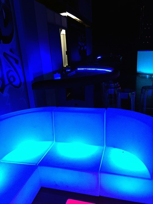 Glowing casino tables glowing furniture