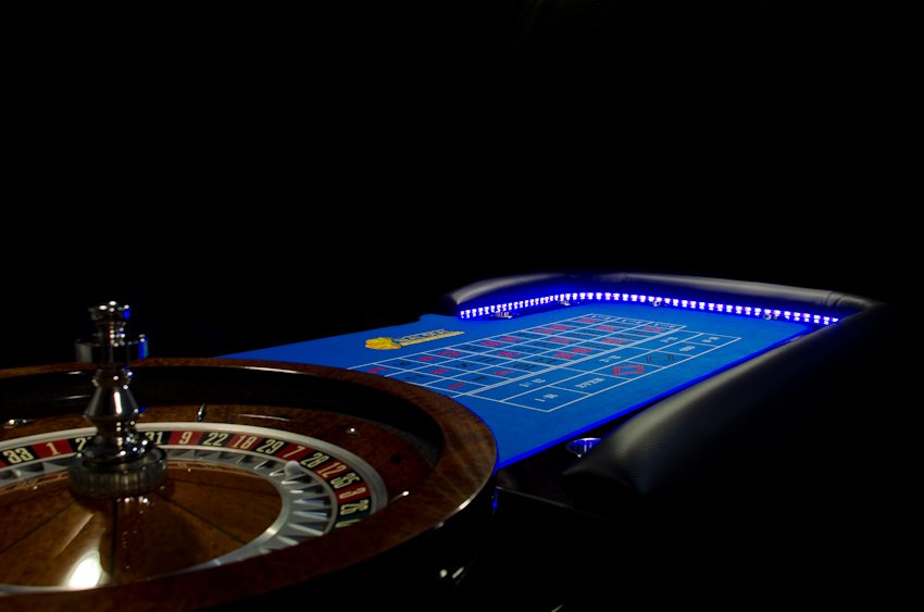 Blue lights LED Casino tables