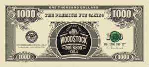 Woodstock Branding Fun Money for Product Launch at casino party