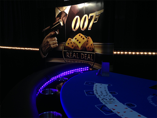 Casino Royale Bond Theme up in lights for your casino party hire